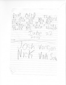 Josh and Nick Van Son Letter